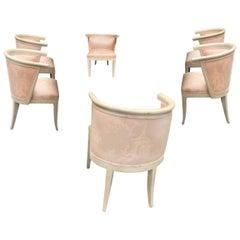Mid-Century Modern Limed Oak and Silk Barrel Chairs Harold Schwartz for Romweber