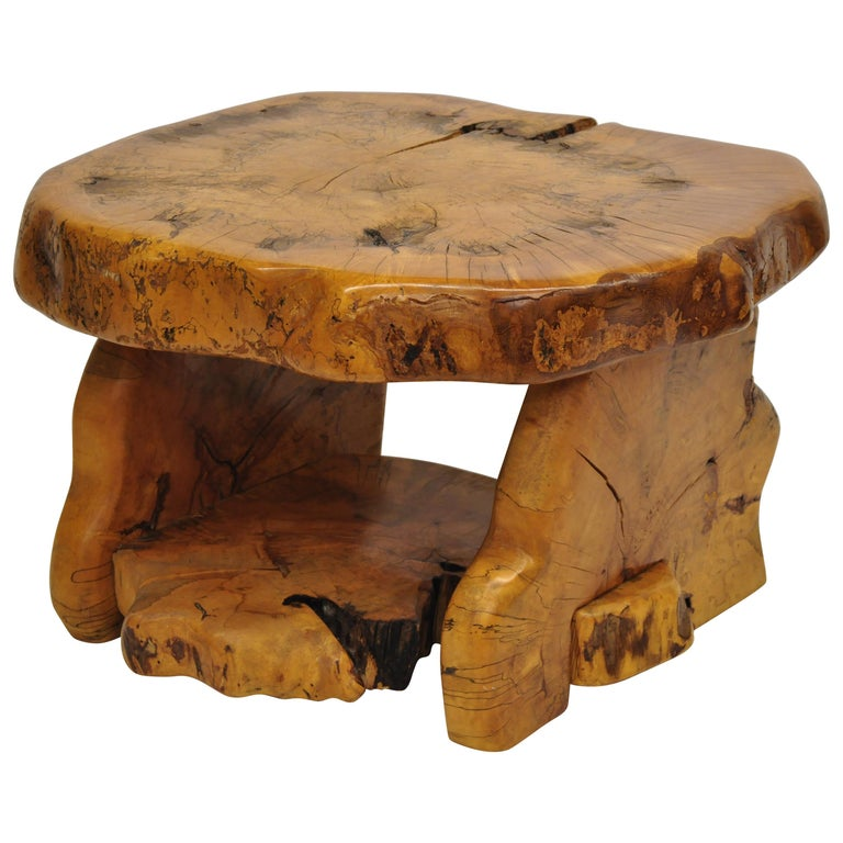 Burl Coffee Table Mid Century: Mid-Century Modern Live Edge Burl Wood Slab Coffee Table
