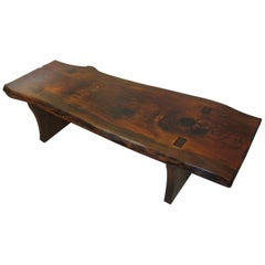 Mid-Century Modern Live Edge Slab Cocktail Table