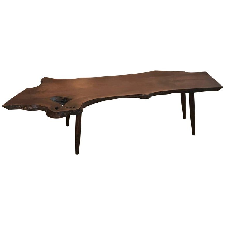 Mid Century Walnut Live Edge Coffee Table: Mid-Century Modern Live Edge Walnut Coffee Table For Sale