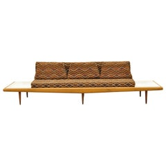 Mid-Century Modern Long Gondola Daybed Sofa with Marble