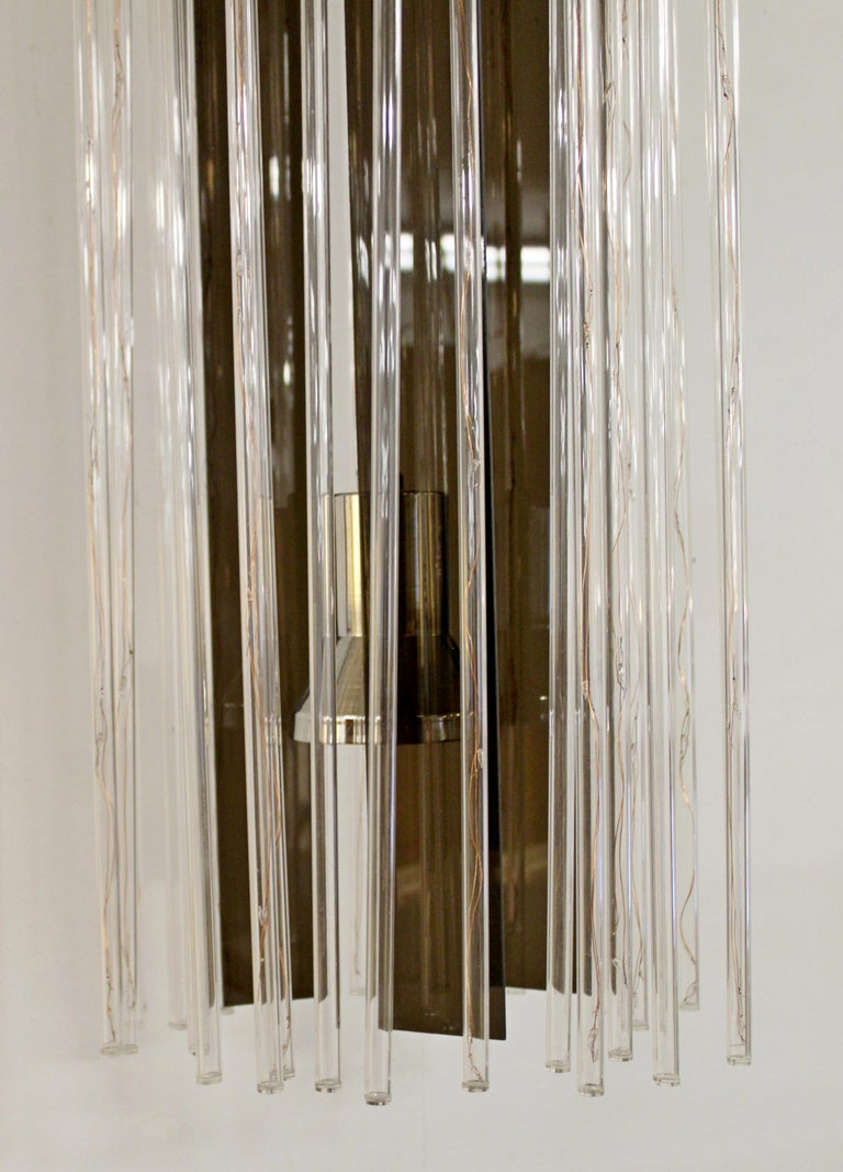 Mid-20th Century Mid-Century Modern Long Hanging Brass & Acrylic Chandelier Light Fixture 1960s For Sale
