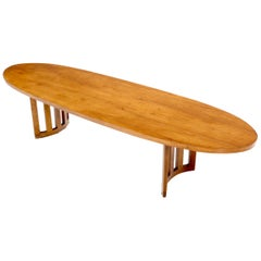 Mid-Century Modern Long Oval Surfboard Coffee Table