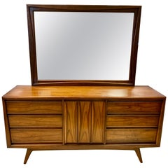 Mid-Century Modern Long Sculptural Dresser with Mirror Chest of Drawers