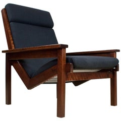 Mid-Century Modern Lotus Lounge Chair in teak and black by Rob Parry, 1960s