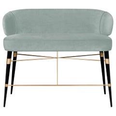 Mid-Century Modern Louis Twin Seat Walnut Wood Cotton Velvet