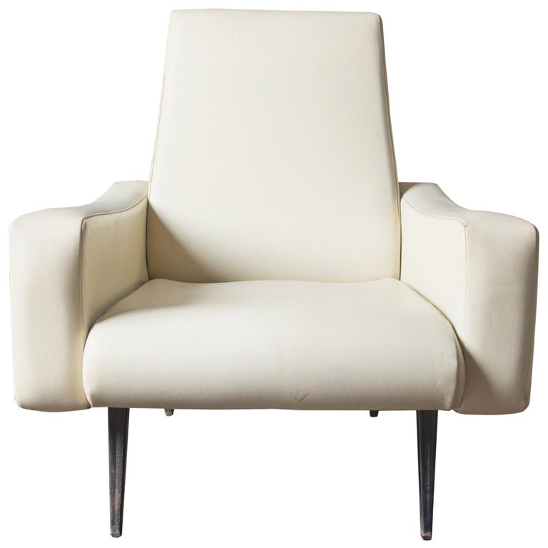 Mid-Century Modern Lounge Armchair, White Vinyl For Sale