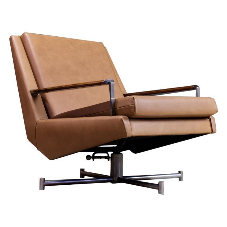 Mid-Century Modern Lounge Chair by Louis Van Teeffelen in Brown Leather, 1960s For Sale