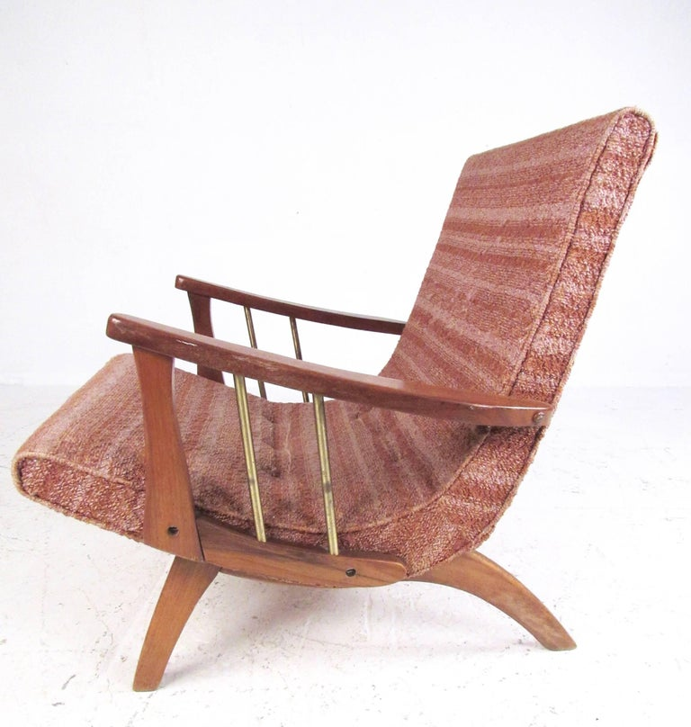 Upholstery Mid-Century Modern Lounge Chair with Ottoman For Sale