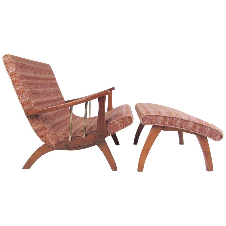 Mid-Century Modern Lounge Chair with Ottoman For Sale