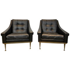 Mid-Century Modern Lounge Chairs 1960 Newly Upholstered in Italian Leather, Pair