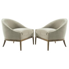 Mid-Century Modern Lounge Chairs in Mohair, 1950s