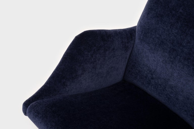 Mid-Century Modern Lounge Chairs in Mohair Velvet by Carlo de Carli for Cassina For Sale 1
