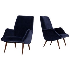 Mid-Century Modern Lounge Chairs in Mohair Velvet by Carlo de Carli for Cassina