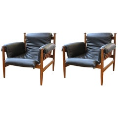 Mid-Century Modern Lounge Chairs or Armchairs with Wooden Frame