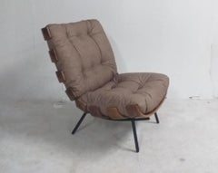 Mid-Century Modern Lounge Costela Chair with Ottoman with gray cushions