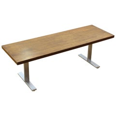 Mid-Century Modern Low Bench with Metal Legs