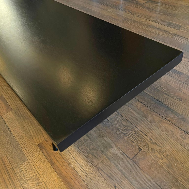 Mid-Century Modern Low Black Lacquered Mahogany Coffee Table For Sale 1