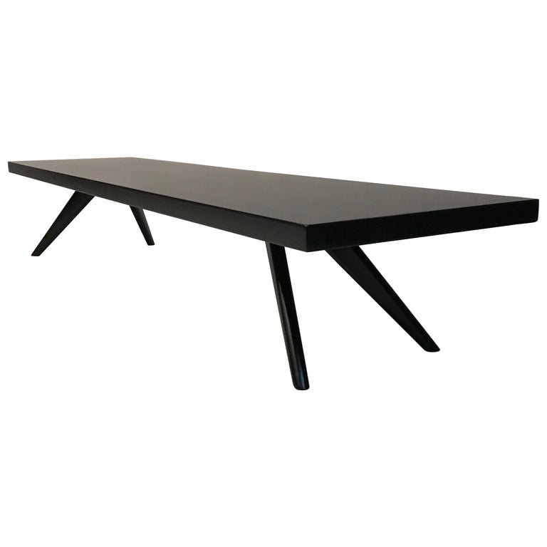 Mid Century Modern Low Black Lacquered Mahogany Coffee Table For