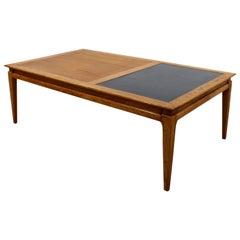 Mid-Century Modern Low Rectangular Wood Coffee Table with Black Insert Danish