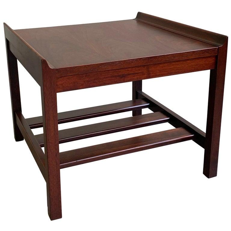Swell Mid Century Modern Low Upturned Walnut Side Table By Lane Machost Co Dining Chair Design Ideas Machostcouk