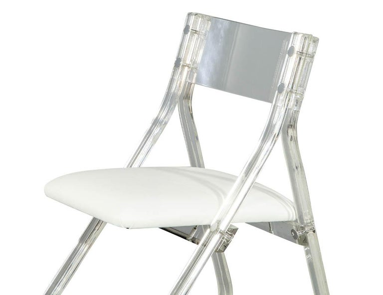 Chrome Mid-Century Modern Lucite Accent Desk Chair For Sale