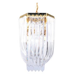 Mid-Century Modern Lucite and Brass Ribbon Chandelier with Canopy