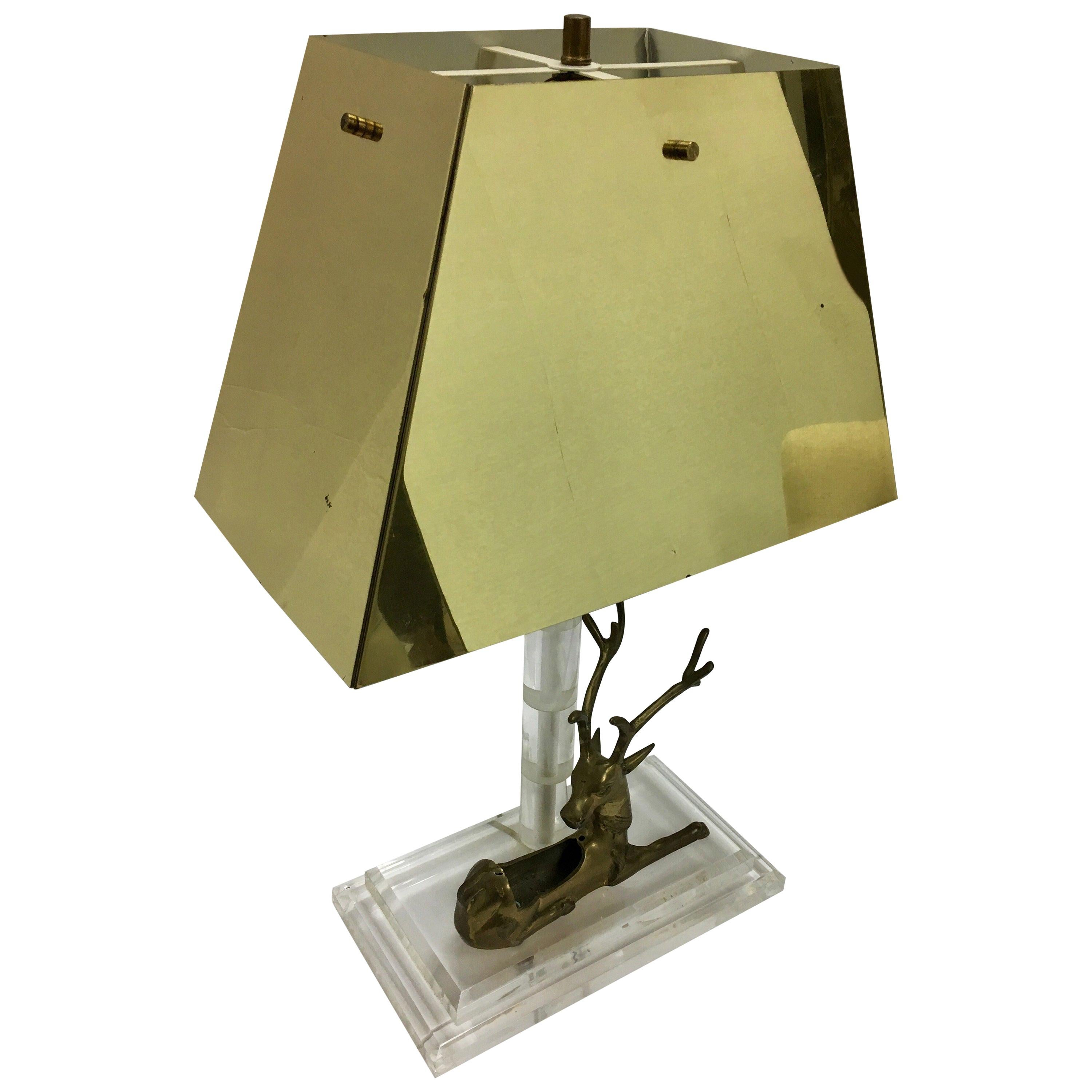 Mid-Century Modern Lucite and Brass Table Lamp with Reindeer Deer Cardholder