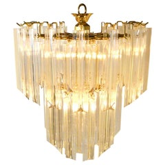 """Mid-Century Modern Lucite and Brass """"Waterfall"""" Venini Style Chandelier"""
