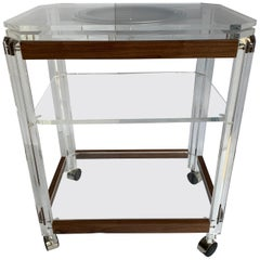 Mid-Century Modern Lucite and Cherry Wood Bar Cart Trolley