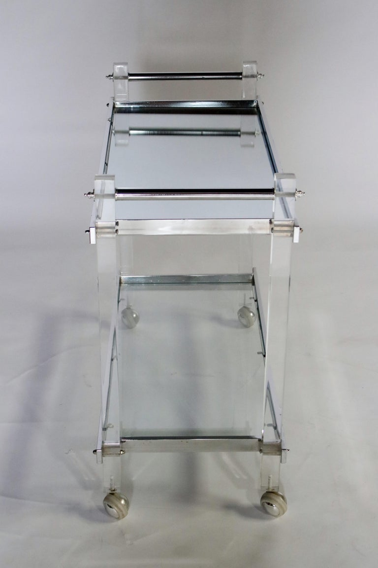 Late 20th Century Mid-Century Modern Lucite and Chrome Bar Cart For Sale
