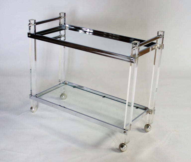 Glass Mid-Century Modern Lucite and Chrome Bar Cart For Sale