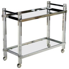 Mid-Century Modern Lucite and Chrome Bar Cart