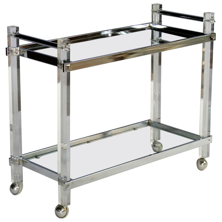 Mid-Century Modern Lucite and Chrome Bar Cart For Sale