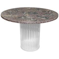 Mid-Century Modern Lucite and Fossil Stone Round Dining Table