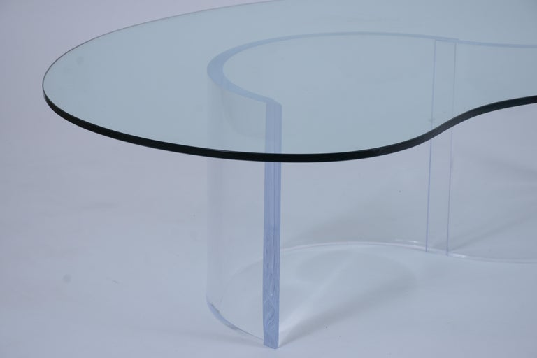 Polished Mid-Century Modern Lucite Base & Glass Coffee Table For Sale
