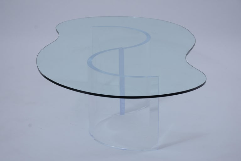 Mid-20th Century Mid-Century Modern Lucite Base & Glass Coffee Table For Sale