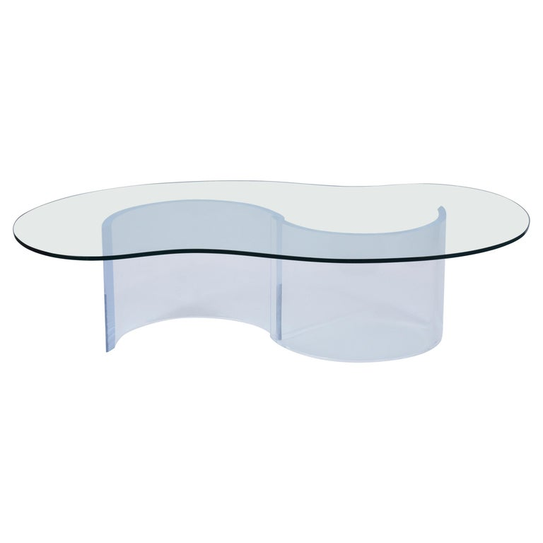 Mid-Century Modern Lucite Base & Glass Coffee Table For Sale