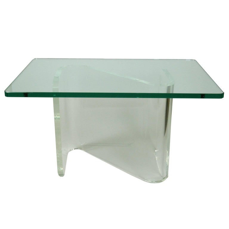 Mid Century Modern Lucite And Glass Coffee Table For Sale At 1stdibs