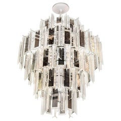 Mid-Century Modern Lucite and Mirrored Prism Chandelier, Italy, circa 1970s