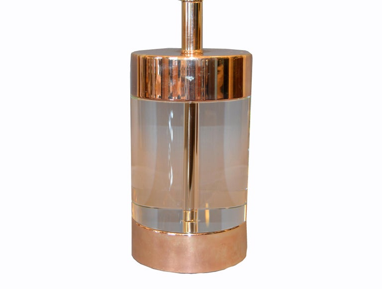 American Mid-Century Modern Lucite and Nickel Table Lamp For Sale