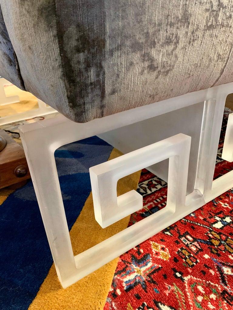 20th Century Mid-Century Modern Lucite and Velvet Bespoke Loveseat Settee Sofa For Sale