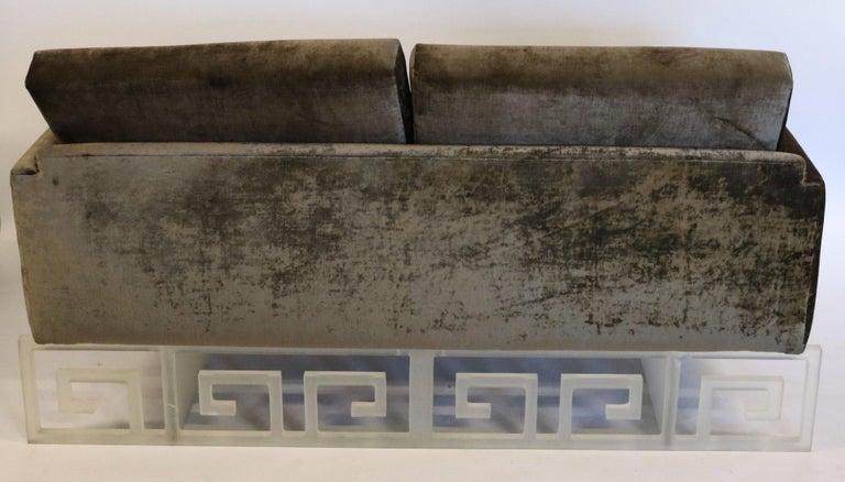 Mid-Century Modern Lucite and Velvet Bespoke Loveseat Settee Sofa For Sale 2