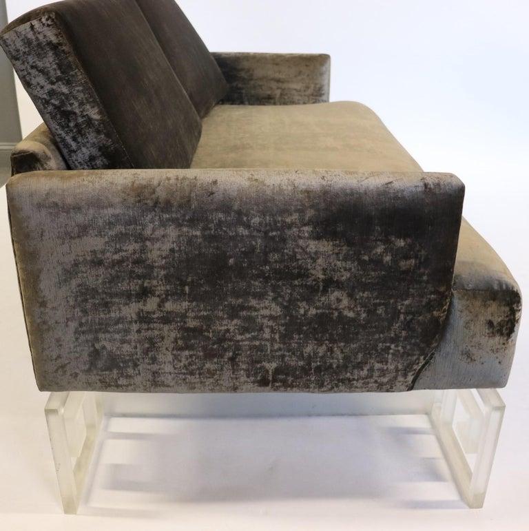 Mid-Century Modern Lucite and Velvet Bespoke Loveseat Settee Sofa For Sale 3