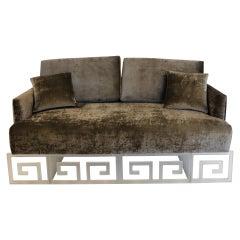 Mid-Century Modern Lucite and Velvet Bespoke Loveseat Settee Sofa