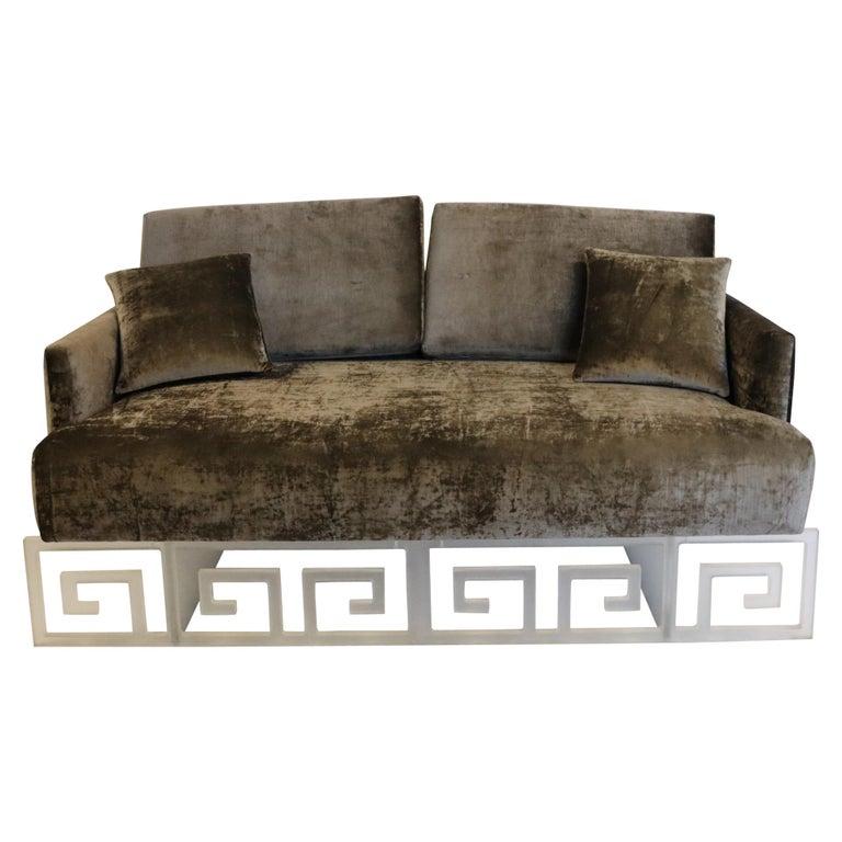 Mid-Century Modern Lucite and Velvet Bespoke Loveseat Settee Sofa For Sale