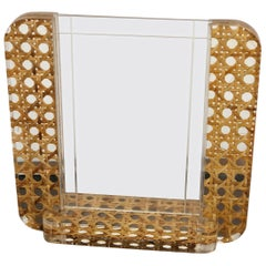 Mid-Century Modern Lucite and Wicker Picture Frame in Christian Dior Style