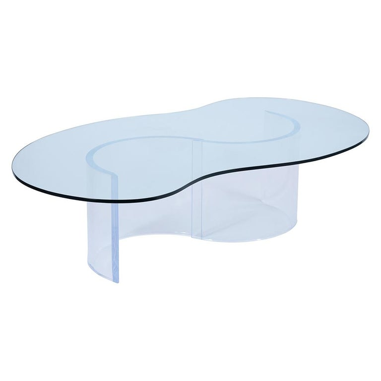 American Mid-Century Modern Lucite Base & Glass Coffee Table For Sale