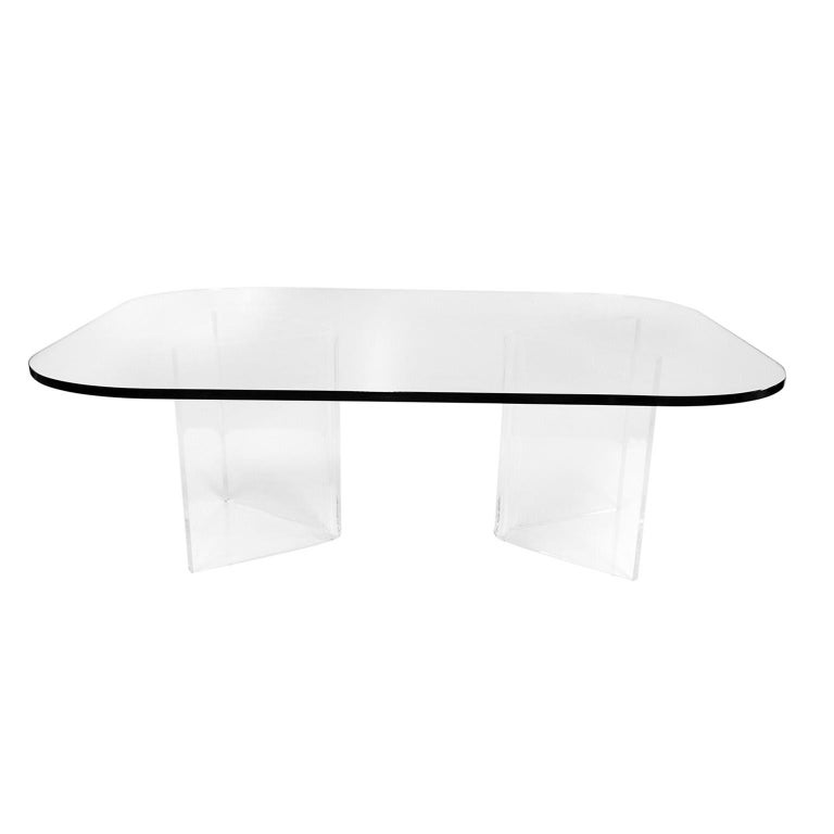 American Mid-Century Modern Lucite Base Glass Top Coffee Table For Sale
