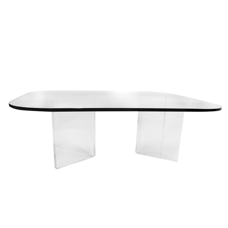 Late 20th Century Mid-Century Modern Lucite Base Glass Top Coffee Table For Sale